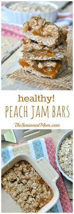 These easy, 5-Ingredient Healthy Peach Jam bars are a dairy-free, nutritious make-ahead breakfast, an easy on-the-go snack, or even a light dessert!