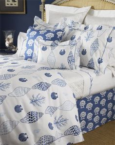Harbour Island Bed Linens by Lulu DK Matouk: Adorned with a refreshing all-over sea shell pattern. Made from Egyptian cotton. #luludkmatouk #matouk
