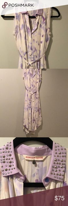 Rebecca Taylor Silk Shirt Dress Beautiful lilac watercolor printed silk shirt style dress from Rebecca Taylor. Studded collar detail, perfect condition, only worn once! Size 2! Rebecca Taylor Dresses
