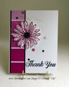 Stampin' Up! Daisy Delight and the Color Theory DSP stack www.sharonburkert.com Thanksgiving Cards, Christmas Cards, Paint Sample Cards, Paint Chip Cards, Paint Chips, Making Greeting Cards, Greeting Cards Handmade, Paper Cards, Diy Cards