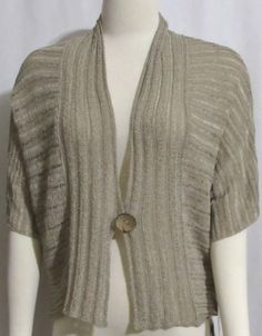 NEW Womens Ladies TRIBAL Khaki 1 Button Open S/S Cardigan Sweater Top M Orig $84 #Tribal #OpenCardiganSweaterTop #Versatile