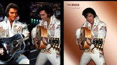 """The real deal (left) PHOTOSHOPPED (center) hows Elvis' head posted onto the body of Elvis Tribute Artist Tim Welch who was born on December 11, 1964 in Columbus, OH. Photo source: fb page """"Elvis- Fake Photoshop Pics Revealed"""""""