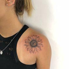 Bone Tattoos, Body Art Tattoos, Small Tattoos, Tattoo Drawings, Sleeve Tattoos, Tatoos, Sunflower Tattoo Shoulder, Sunflower Tattoos, Rose On Shoulder Tattoo