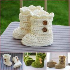crochet snow boots pattern wonderfuldiy Wonderful DIY Classic Crochet Snow Boots and 20 FREE Booties Patterns Crochet Baby Boots, Baby Girl Crochet, Crochet Bebe, Baby Blanket Crochet, Crochet For Kids, Diy Crochet, Crochet Crafts, Crochet Projects, Tutorial Crochet