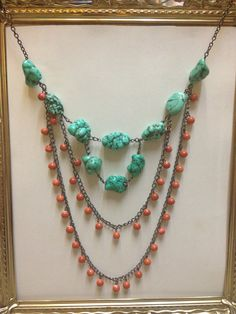Chunky turquoise and coral necklace by bizzsjewels on Etsy, $30.00