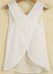 Shop White Sleeveless Cross Back Chiffon Blouse online. SheIn offers White Sleeveless Cross Back Chiffon Blouse & more to fit your fashionable needs.White Sleeveless Cross Back Chiffon Blouse; would look cute with a colored tank underneath! Look Fashion, Fashion Outfits, Mode Style, Dress Me Up, Diy Clothes, Spring Summer Fashion, Passion For Fashion, Dress To Impress, Ideias Fashion