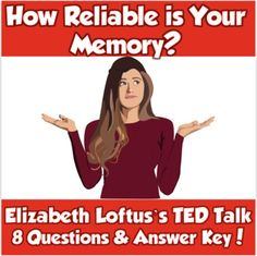 This 15-minute TED Talk by Elizabeth Loftus is an excellent opener for AP Psych Unit 7 Cognition or Psychology class.  Lotus' work looks at how false memories can impact our lives and brings new light to how our memory can fail us.  I use this in my Psychology course, but it can also be used in Law & Justice when discussing issues with eyewitness testimonies.The worksheet contains 8 questions and an answer key is included for your convenience.By purchasing this item, you agree to use it for Memory Psychology, Ap Psychology, Psychology Courses, Law And Justice, Ted Talks, Teacher Pay Teachers, Lotus, Key, Memories