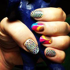 Graphic Designer themed nails #cmyk #nailart #sinfulcolors #polish #nailstamping #watermarble
