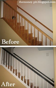 low cost stair railing makeover, painting, stairs, Before and After for only 10 Oak Banister, Oak Stairs, Banisters, Stair Railing, Black Railing, Home Improvement Projects, Home Projects, Craft Projects, Banister Remodel
