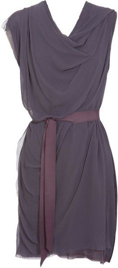 Lanvin Purple Draped Silk Chiffon Dress with damson grosgrain ribbon belt - Lyst - smokey/muted purple
