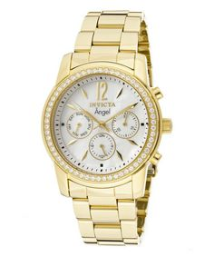 Love this Gold & White Crystal Studded Angel Chronograph Watch - Women on #zulily! #zulilyfinds