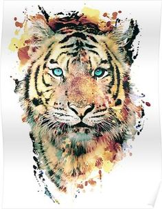 Tiger by RIZA PEKER - Buy Print and Stuff (stickers apparel tapestry mugs pillows clocks sheets towels device cases cards shower curtains pouches etc. Watercolor Tiger, Tiger Painting, Watercolor Images, Tattoo Watercolor, Tiger Artwork, Cervo Tattoo, Art Tigre, Tattoos For Guys, Tattoos For Women