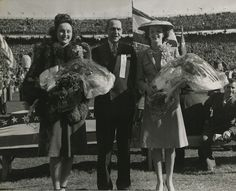 """Three Beauties, 1945  Venus Ramey, """"Miss America 1944,"""" and Willi Hoffman, """"Miss New Orleans 1944,"""" pose with A. B. Nicholas, president of the New Orleans Mid-Winter Sports Association."""