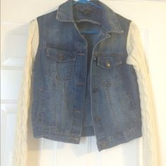 Jean vest with knitted sleeves Worn a couple times. Cute and perfect for the winter Rue 21 Jackets & Coats Jean Jackets