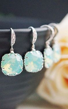 Gorgeous earrings. Loving this soft aqua color!