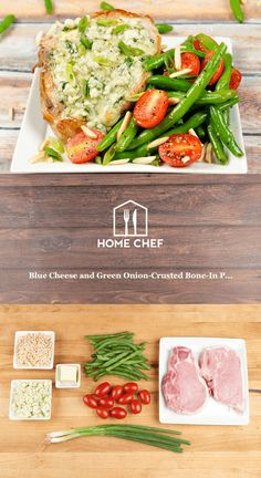 We blend beautiful blue cheese with green onions to form a crust that perfectly complements a juicy bone-in pork chop. It's served with classic butter green beans, grape tomatoes, and toasted almonds for an elegant way to end your day.