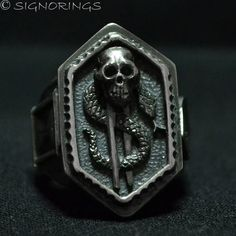 Texas Holdem Poker All In Biker Skull Ring Dollar Sign Sterling Silver Sz14 #SIGNORings #PokerBiker