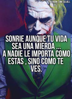 Lamparas e e ideas Joker Frases, Joker Quotes, Harey Quinn, Joker Heath, Pablo Escobar, Joker And Harley, Spanish Quotes, True Quotes, Amor Quotes