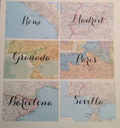 This listing is for 15 map table names of your choice! The map will match the name of the place - I will send a photo of them before shipping to make sure you are happy with the colors and text. They are 5x7 - perfect size to frame! *frame not included! *text is printed not hand written! *maps are all real!  Great for wedding showers - weddings - anniversary - travel theme party  I will be making these to order so let me know if you want to change something to fit your needs! Text style…