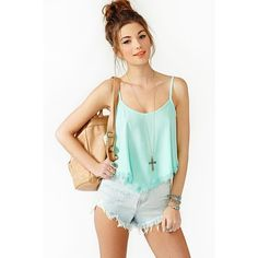 Summer Lace Crop Tank - Mint (605 ARS) ❤ liked on Polyvore featuring tops, outfits, models, shirts, mint, green crop top, crop top, green lace shirt, lace shirt and lace-up tank tops