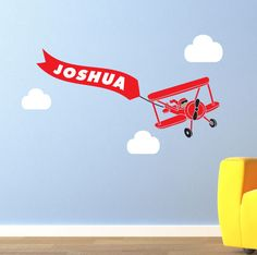 Airplane wall decal with Custom Name - Children's Room Wall Art Vinyl Personalized Baby Toddler Decal Biplane. $30.00, via Etsy.