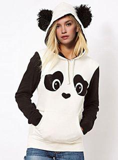 Fresh Style Ear Shape Hooded Panda Printed Fleece Pullover Hoodie For Women