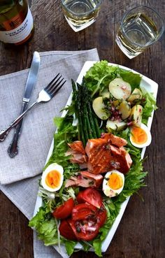 WARM SALMON SALAD NICOISE - The Woks of Life #salmon #nicoise #salad