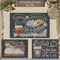 Digital Morning Coffee Chalkboard Art - Chalk Art - Scrapping Designs by Nik