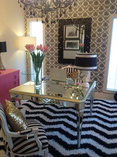 PERFECTION!!!!!! Black and white damask walls, sparkly gold pillow, black chandelier, pink chest, black mirror!!