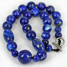 Gorgeous untreated Afghan lapis lazuli with mixed med - darker royal blue & pyrite inclusion. Clasp is 925 sterling silver. Tourmaline Gemstone, Gemstone Jewelry, Beaded Necklace, Beaded Bracelets, Necklaces, Gems Jewelry, Lapis Lazuli, Knot, Handmade Jewelry