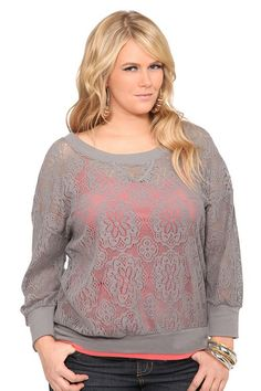 52608e03efa Twist Tees - Grey Allover Lace Pullover