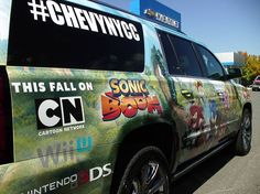 "In NYC for New York Super Week 2014? Use your Uber app with promo code ""ChevyNYCC1014"" and request ""Comic Car"", and you could get a free ride in the Sonic Boom Suburban!"