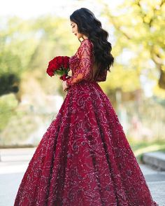dresses muslim turkish A-Line Crew Sweep Train Long Sleeves Dark Red Satin Prom Dress with Appliques Beading Turkish Wedding Dress, Arabic Wedding Dresses, Arab Wedding, Wedding Henna, Red Wedding Dresses, Wedding Gowns, Bridal Dresses, Wedding Dressses, Wedding Attire