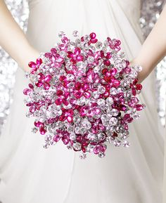 Bridal Bouquet of Beautiful Silver & Pink Mirrored Beads - Wedding Bouquet - Fabulous Brooch Bouquet Alternative - Vanentines