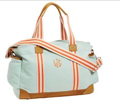 Cutest aqua duffle bag! #duffle #monogram