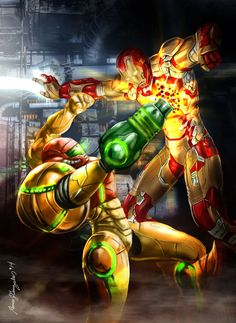 Samus vs. Iron Man by grapiqkad
