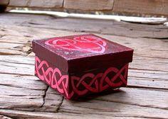 Love Knot Heart Box 3 x 3 hand painted box by annarobertsart
