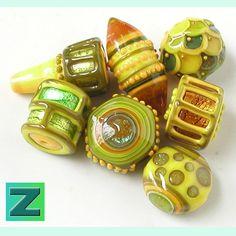 Lemon's Lib - 7 fanciful beads - lampwork by Sarah Moran