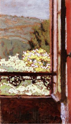 jean-édouard vuillard(1868-1940), an open window overlooking flowering trees, 1900. oil on board on cradled panel, 46.7 x 26 cm. private collection http://www.the-athenaeum.org/art/detail.php?ID=80912