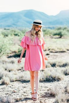 Ruffle Off Shoulder Ginghan Dress - Dash of Darling, Caitlin Lindquist. ♡ SL