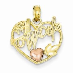 14k Two Tone Gold #1 Wife with Heart Pendant
