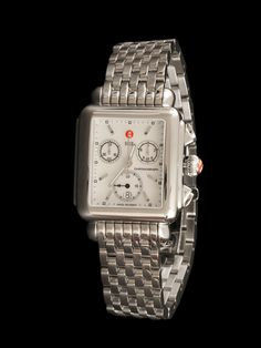 Michele Watch Ladies Stainless Steel Deco Chronograph with Mother of Pearl Dial and stainless steel case and bracelet. Available at London Jewelers.
