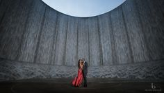 Blanca Duran Photography: Kiki & Asuquo -Houston Engagement Shoot -Gorgeous water wall as backdrop- romantic engagement portrait