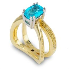 Evolve Collection - 1.86ct Cushion Cut Paraiba accented by Fancy Yellow Diamonds set in 18K Green Gold and Platinum.
