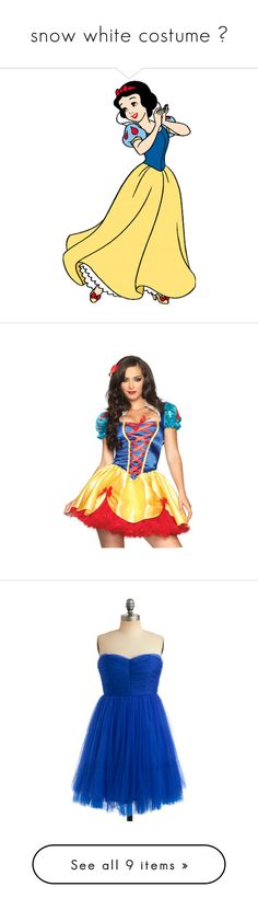 """snow white costume ♥"" by alicia-loves-youu ❤ liked on Polyvore featuring disney, snow white, princess, characters, costumes, halloween, sexy costumes, sexy snow white costume, snow white halloween costume and sexy halloween costumes"