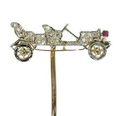 Art Deco bejeweled antique car stickpin set with diamonds (image 1 of Victorian Jewelry, Vintage Jewelry, Antique Jewelry, Art Deco Jewelry, Jewelry Design, Diamond Image, Tie Pin, Pin Art, Hat Hairstyles