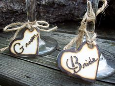 Rustic Heart Bride and Groom Personalized Wine Glass or Napkin Holder Charms (Set of two). $12.99, via Etsy.