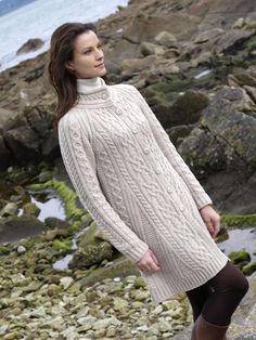 Medium Ladies Flared Oatmeal Cardigan Merino Wool By Aran Crafts X4247 #Arancrafts #Cardigan
