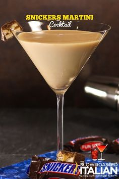 Snicker's Martini features a rich chocolate flavor with caramel, vanilla cream and peanut butter all coming together to create this delightful candy bar inspired cocktail.