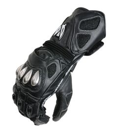 AGVSPORT GPR Leather Glove (Black) - AGVSPORTS ultimate full length sport racing glove, constructed from cowhide and kangaroo leather, high grip material used on fingers, steel covered carbon fiber armor on knuckles, perforated for maximum airflow. Click on the picture for more information!